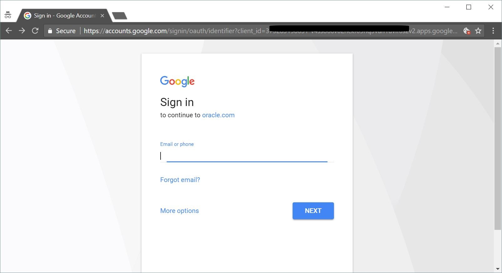 Figure 13: Login with a Google Account